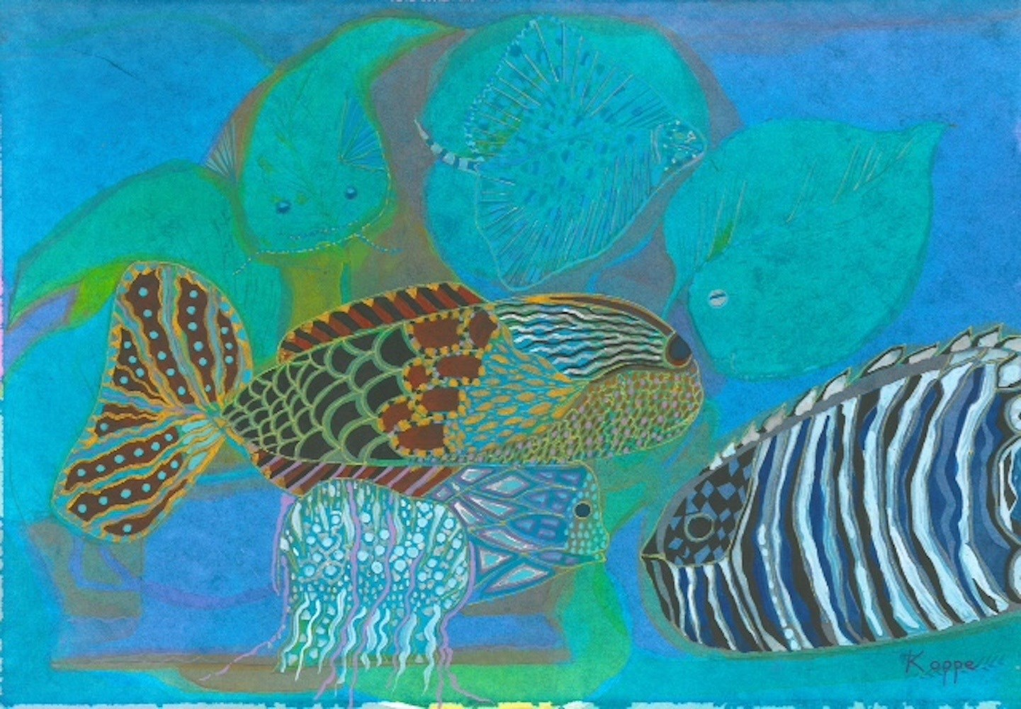 Cat Fish, original Animals Watercolor Painting by Penny Koppe