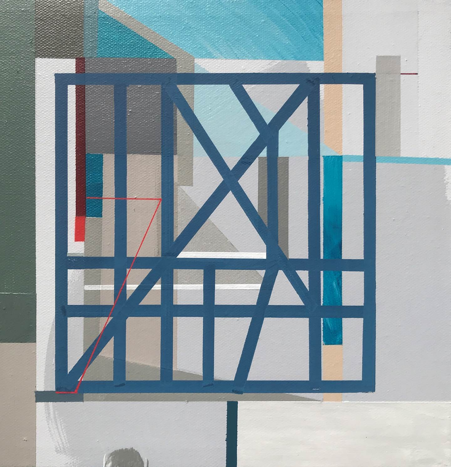 """Non-Structural I"" , original Geometric Acrylic Painting by Pedro Besugo"
