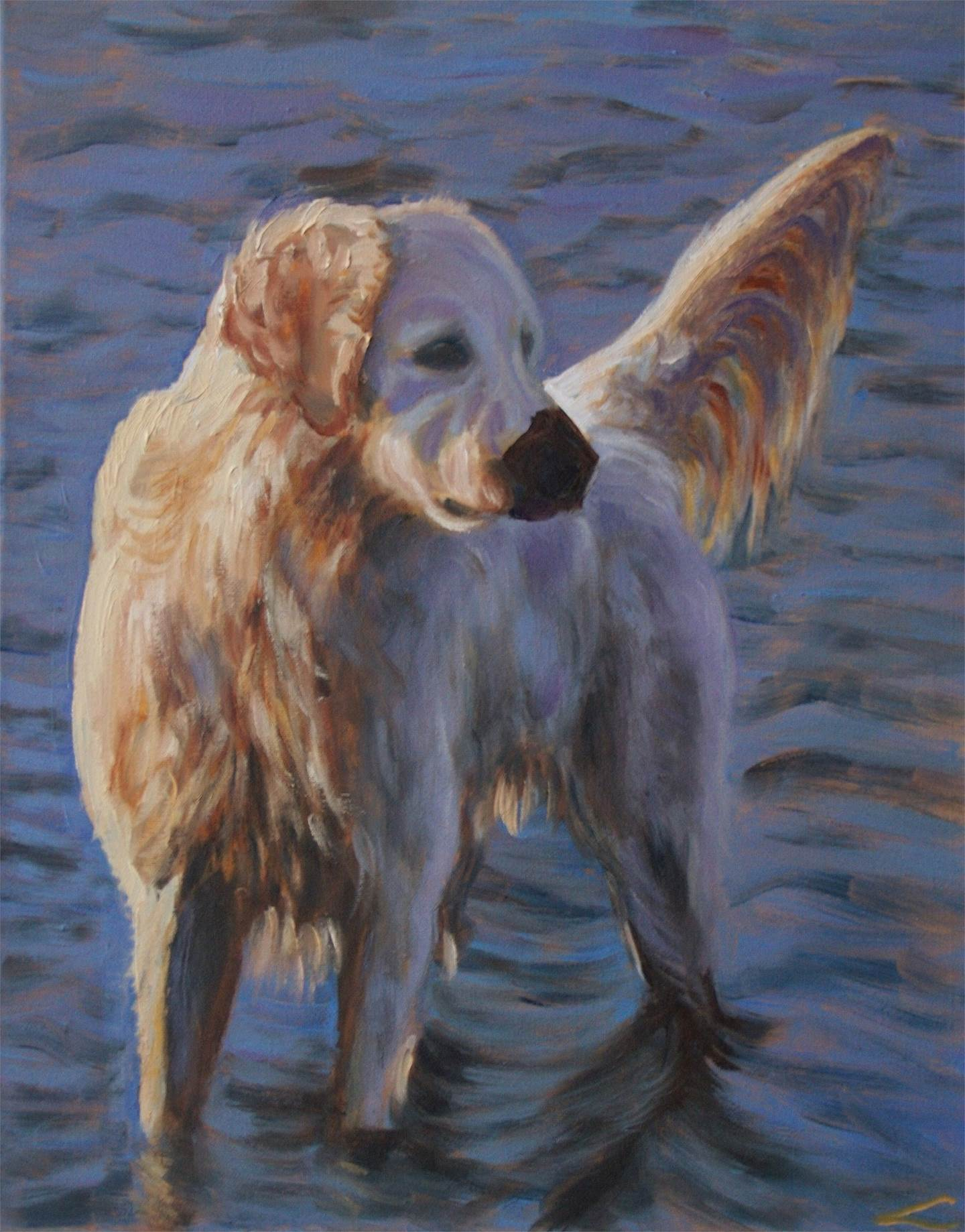 Dog at the sea, original Animals Oil Painting by Elena Sokolova