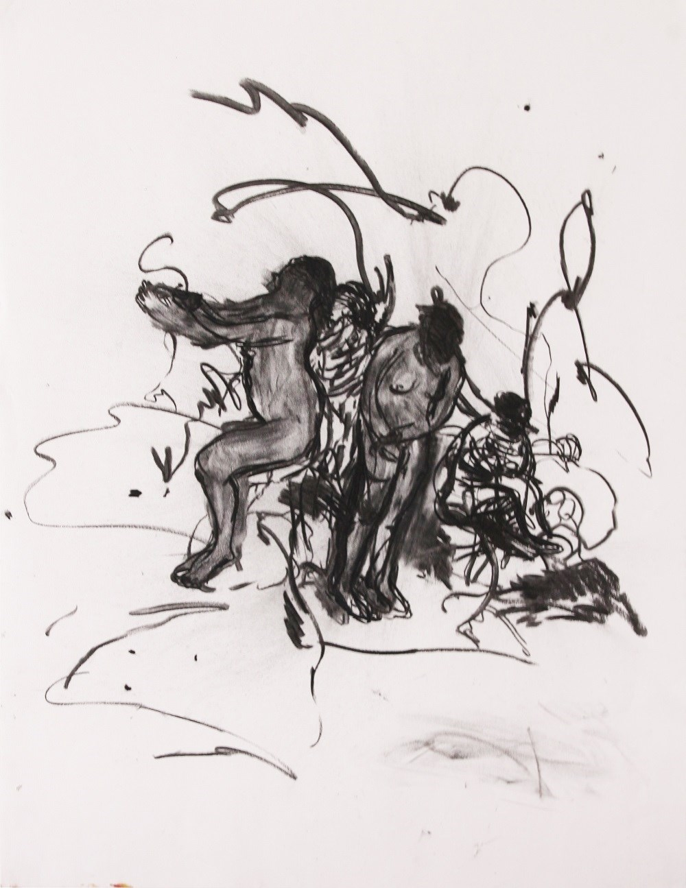 Cantavam em suspiros as noites perdidas, original Abstract Charcoal Drawing and Illustration by Rúben Lança