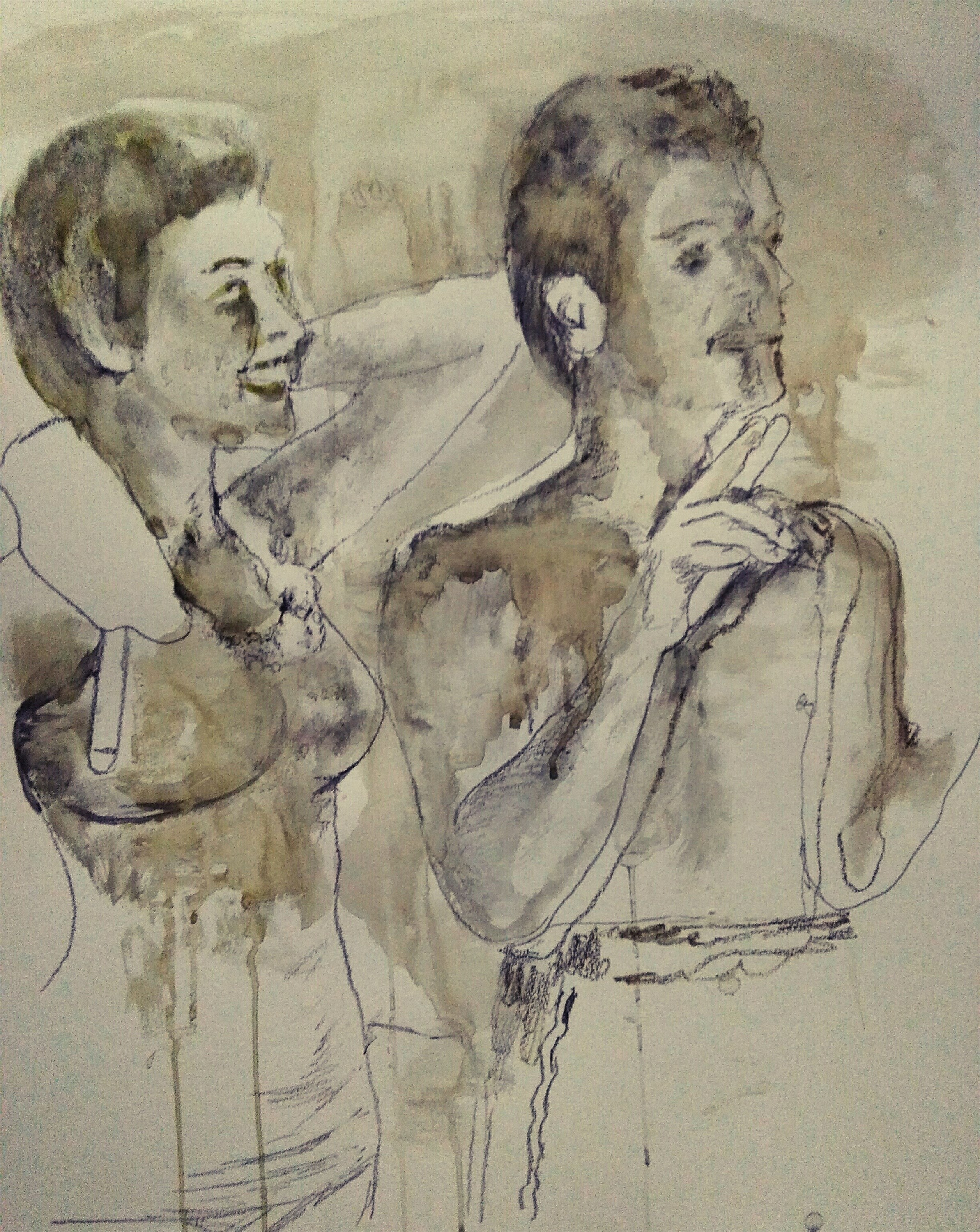 Unforgettable moments, original Human Figure Watercolor Painting by CARLA GONCALVES