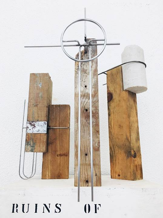RUINS OF POST MODERNITY, original Abstract Mixed Technique Sculpture by André Costa