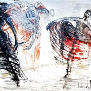 3 DANCERS, original Abstract Canvas Painting by Helena de Medeiros