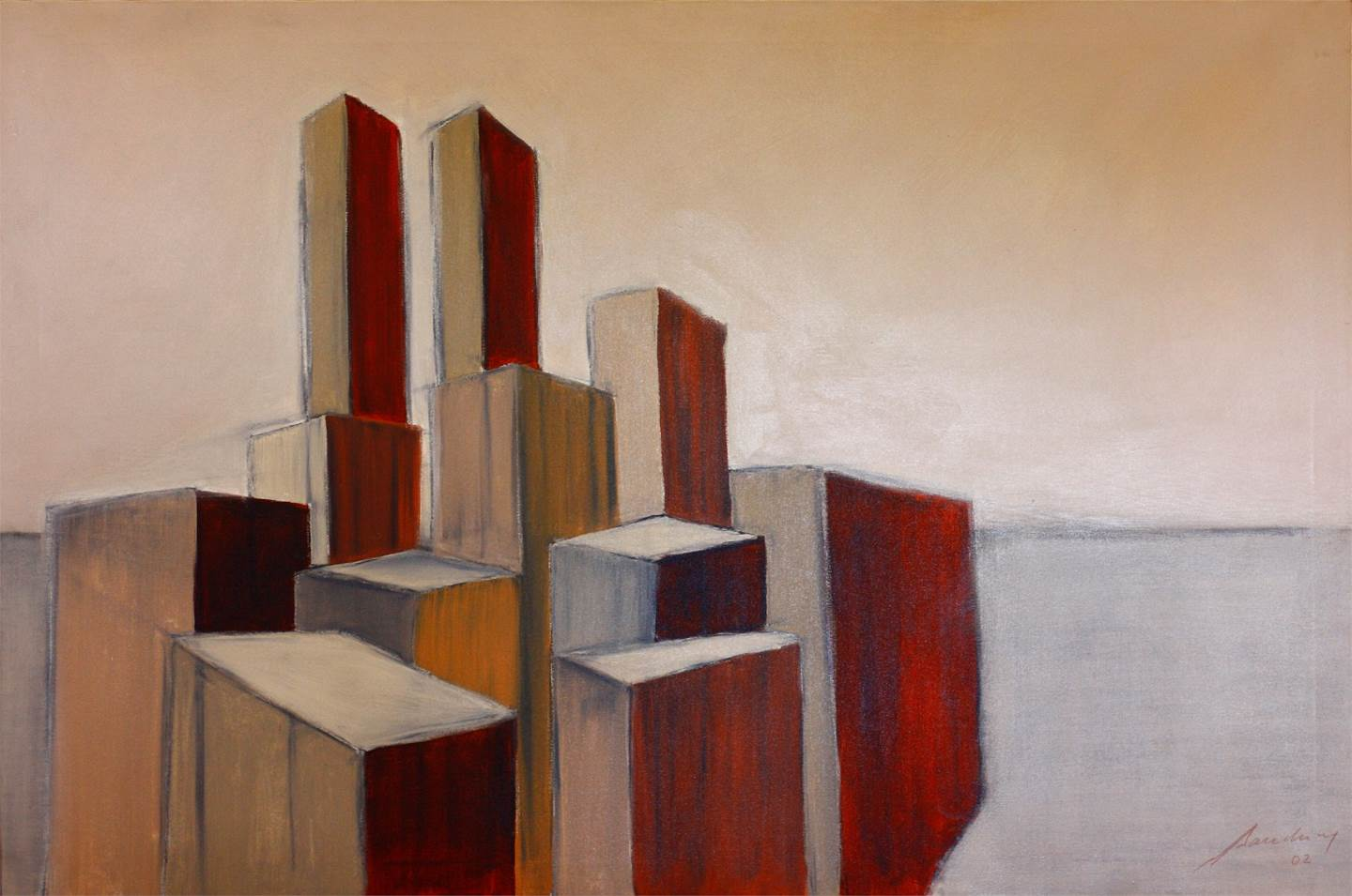 URBE III, original Places Acrylic Painting by SANDRINE CORDEIRO