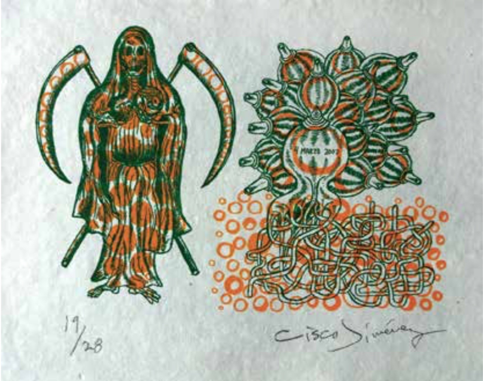 Santa Muerte, original Abstract Collage Drawing and Illustration by Cisco Jiménez