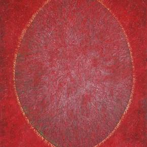 Ovalo en rojo, original Abstract Acrylic Painting by Beatriz Valiente