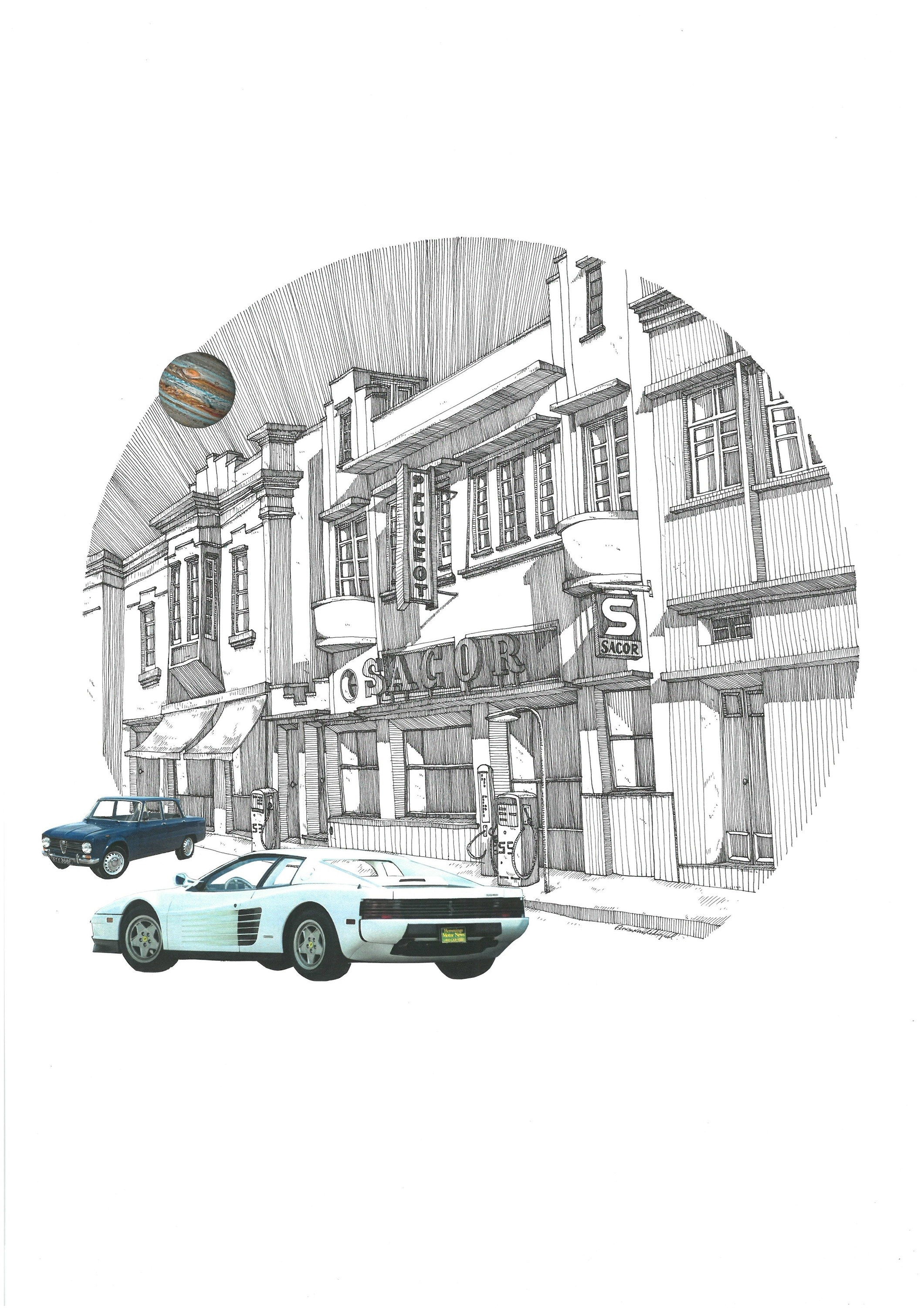 Ferrari Testarossa, original Architecture Collage Drawing and Illustration by Florisa Novo Rodrigues