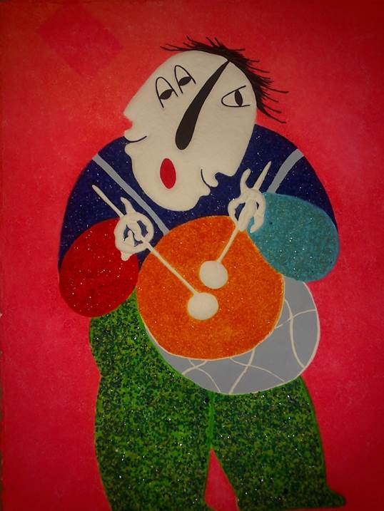 the drummer, original Human Figure 0 Painting by JUAN GARCIA RIPOLLES