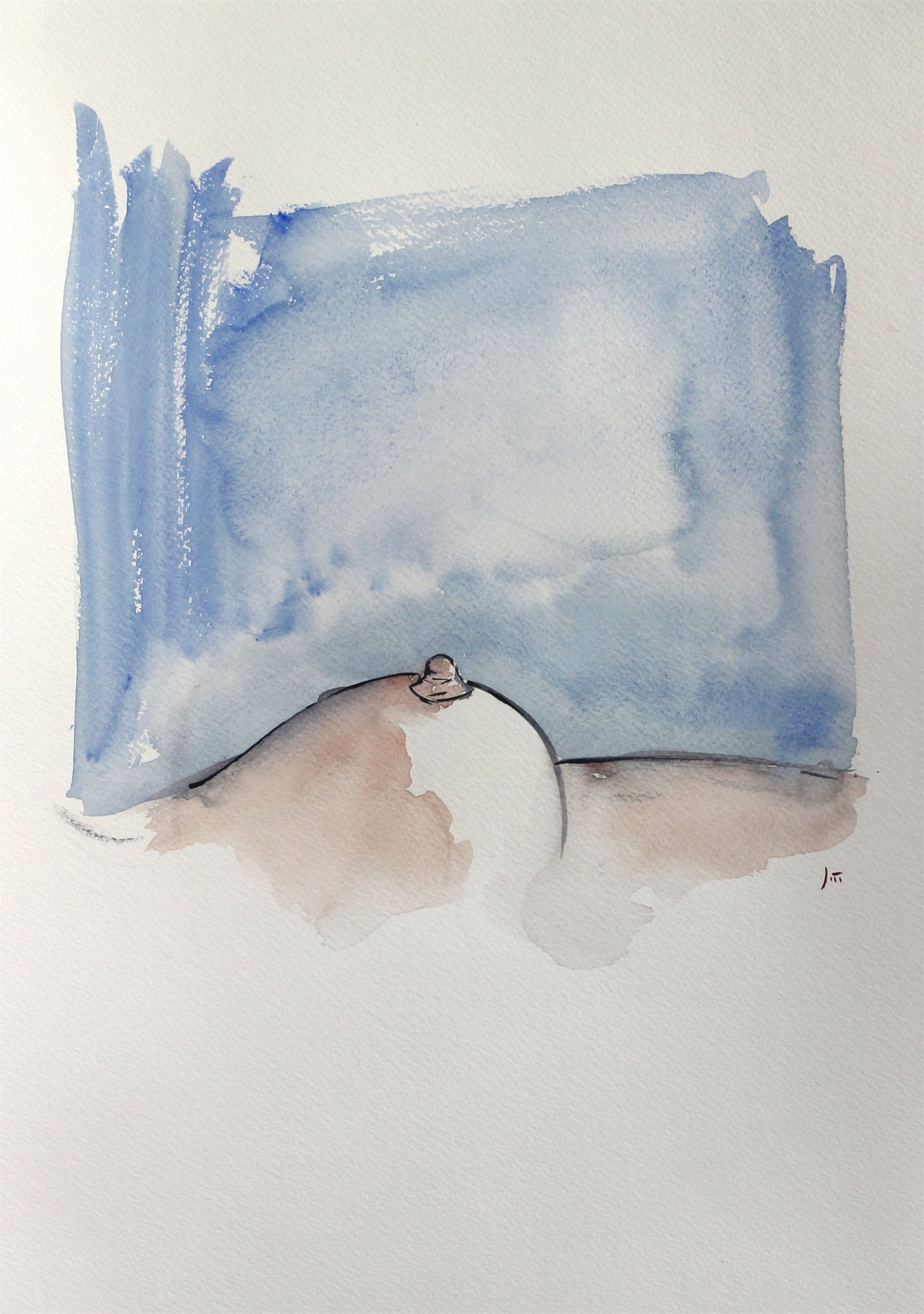Limiar do precipício, original Body Watercolor Drawing and Illustration by João Gil Antunes