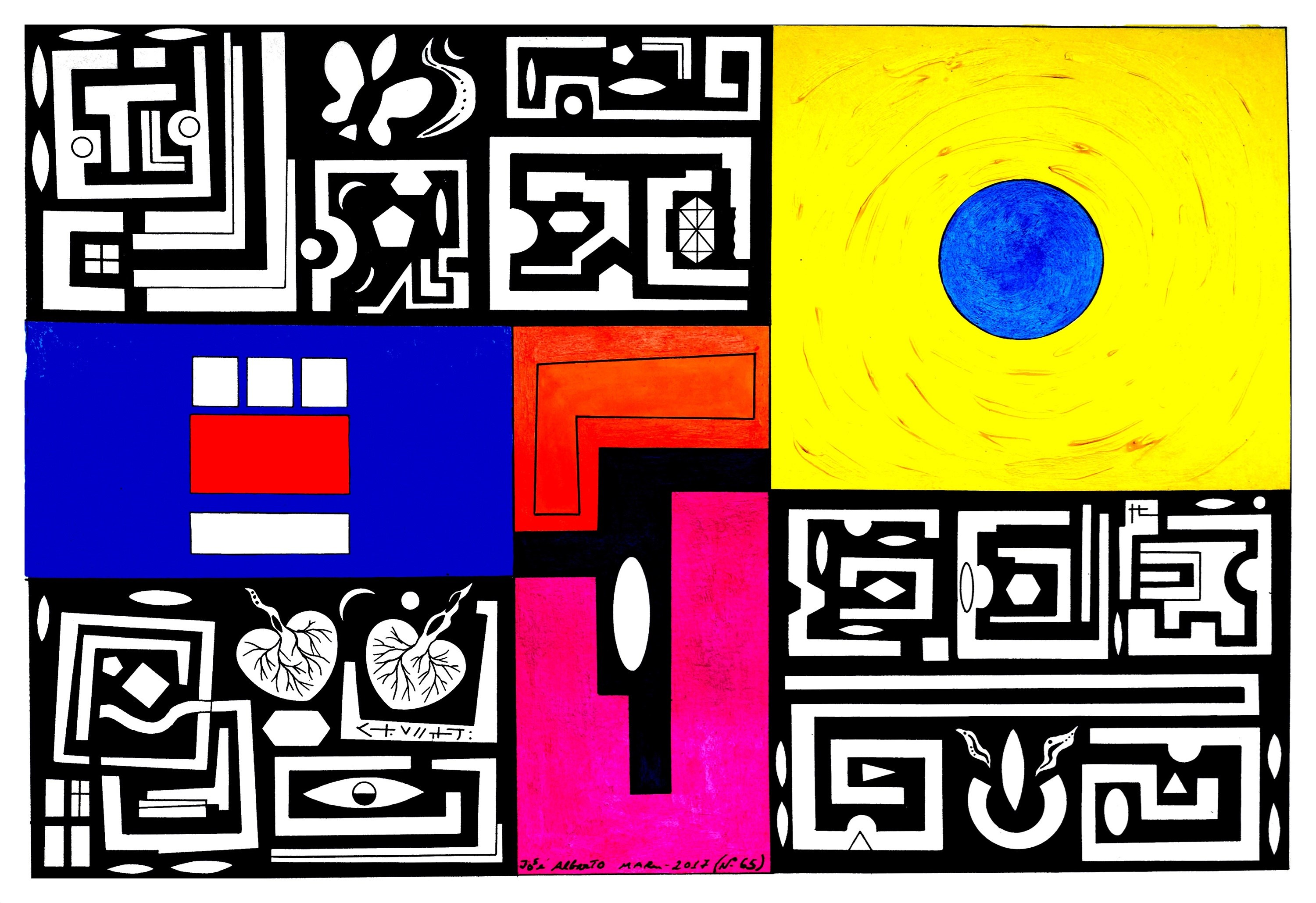 Série: pequenas sabedorias. series: small wisdoms (Nº65), original Geometric Acrylic Painting by José Alberto Mar