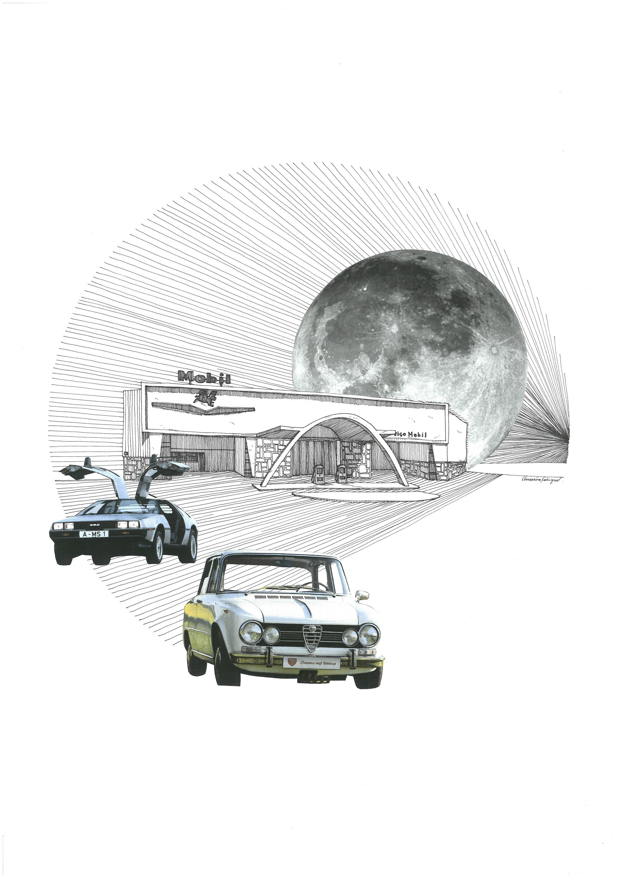Delorean DMC, original Architecture Collage Drawing and Illustration by Florisa Novo Rodrigues