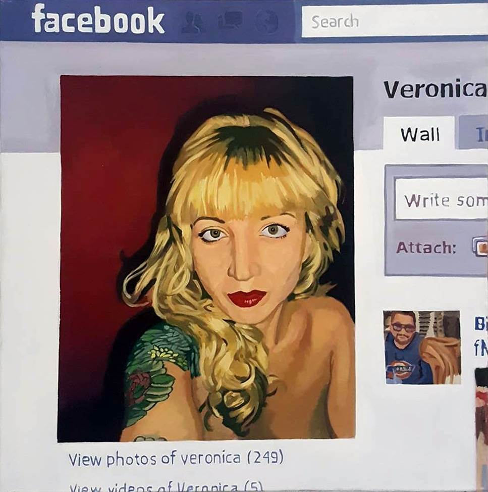 Profile picture, Veronica, original Human Figure Canvas Painting by Pablo Mercado