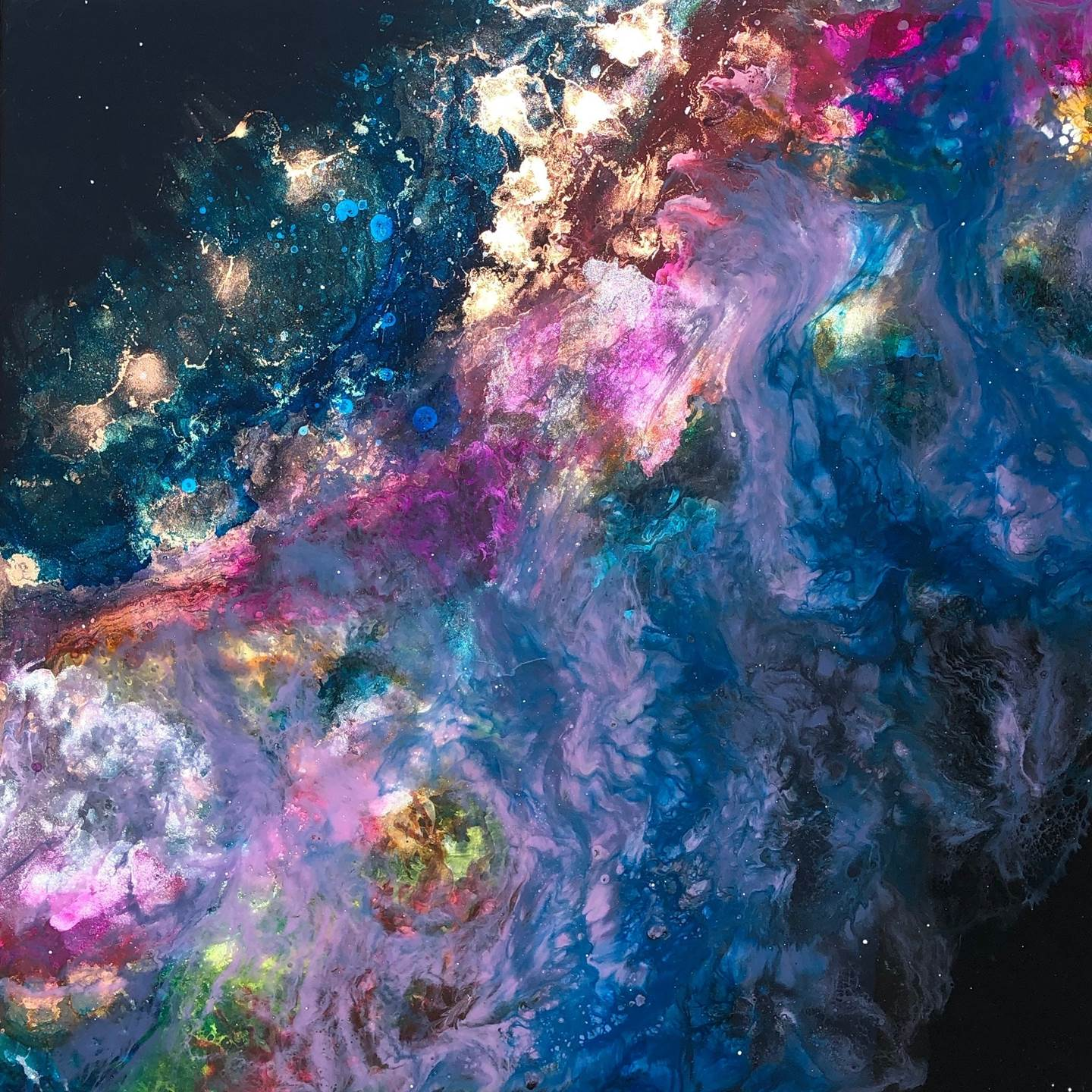 Stellar Promenade, original Abstract Mixed Technique Painting by Tiffani Buteau