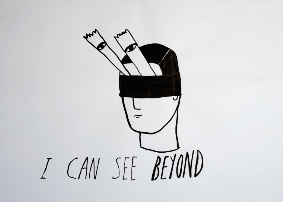 I Can See Beyond, original Portrait  Drawing and Illustration by Andrea Gómez
