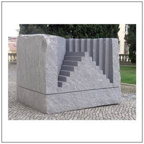 The Stairway to the Castle of your Heart, original Big Granite Sculpture by Volker Schnüttgen