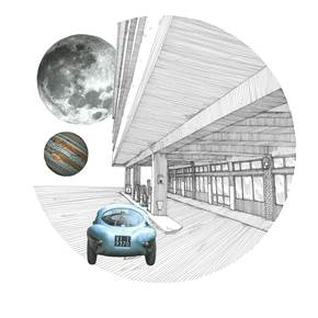 Ferrari Uovo, original Architecture Collage Drawing and Illustration by Florisa Novo Rodrigues