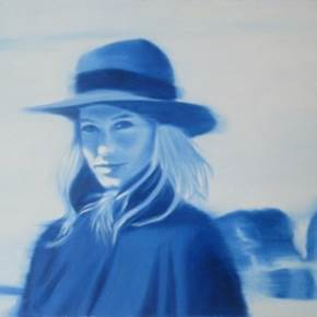 Jeune fille au chapeau en bleu, original Human Figure Oil Painting by Ricardo Gonçalves