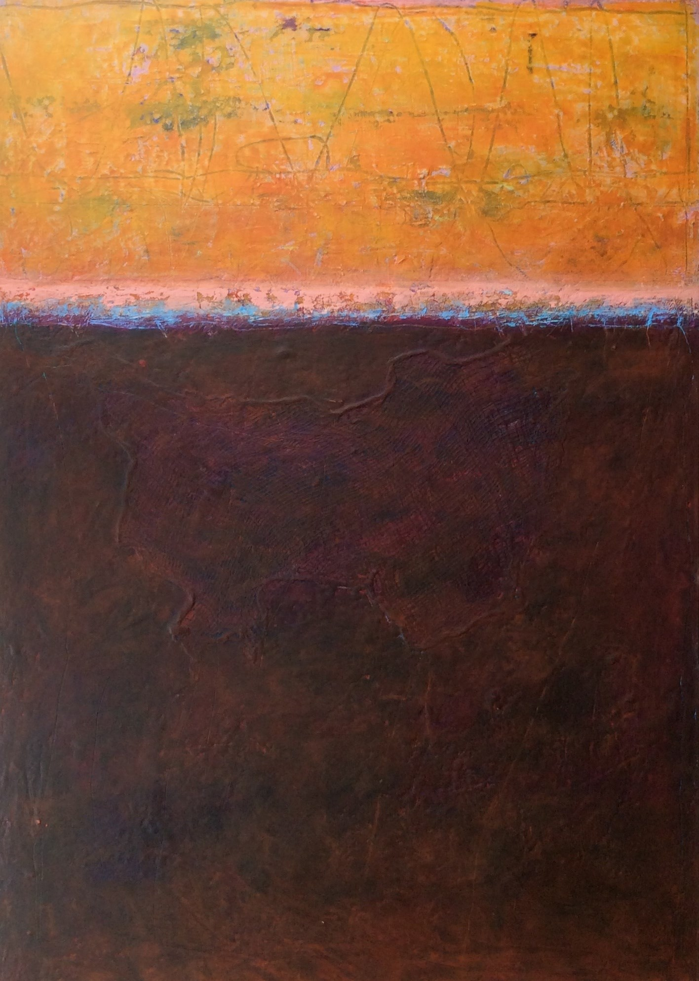 Listen to the sunset n6, Pintura Óleo Abstracto original por Linda Coppens